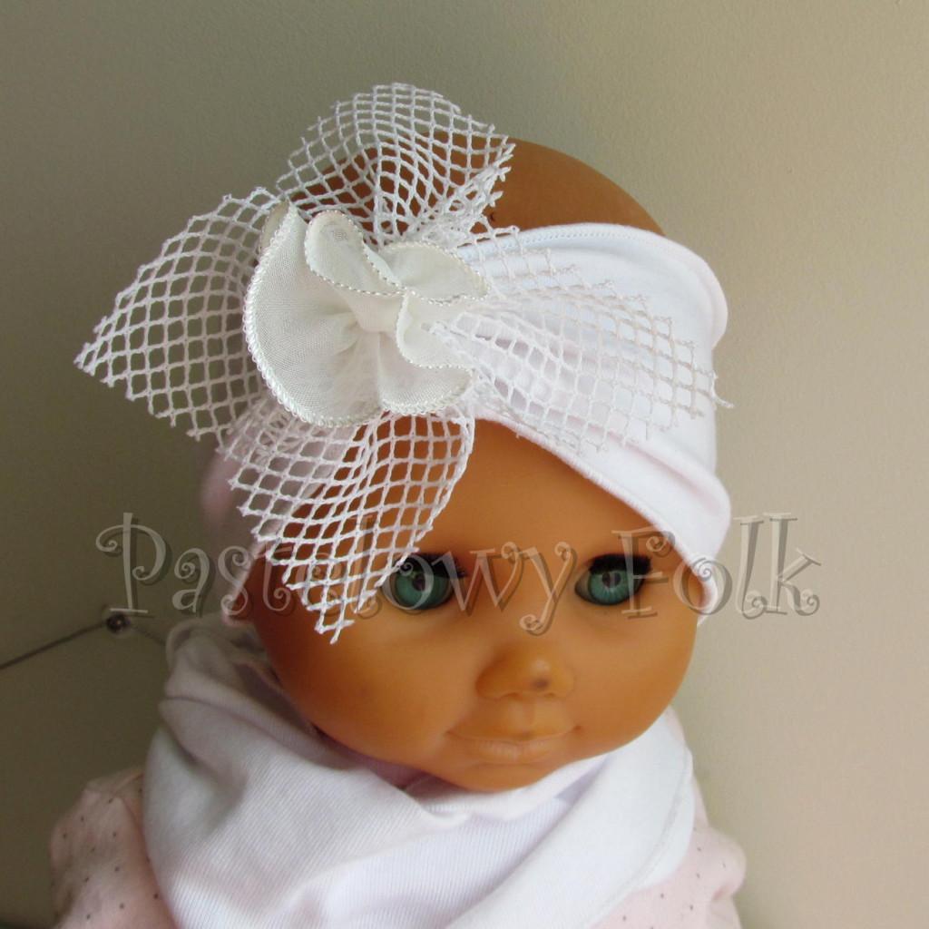 dziecko-opaska 39 - biała ecru do chrztu, roczek, chrzest kwiat retro -01