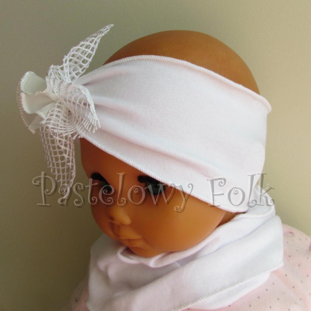 dziecko-opaska 39 - biała ecru do chrztu, roczek, chrzest kwiat retro -04