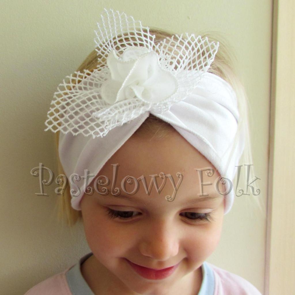 dziecko-opaska 39 - biała ecru do chrztu, roczek, chrzest kwiat retro -06