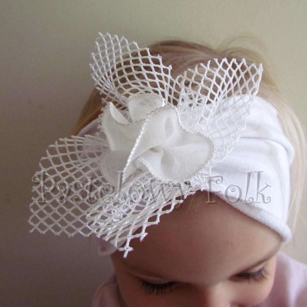 dziecko-opaska 39 - biała ecru do chrztu, roczek, chrzest kwiat retro -09