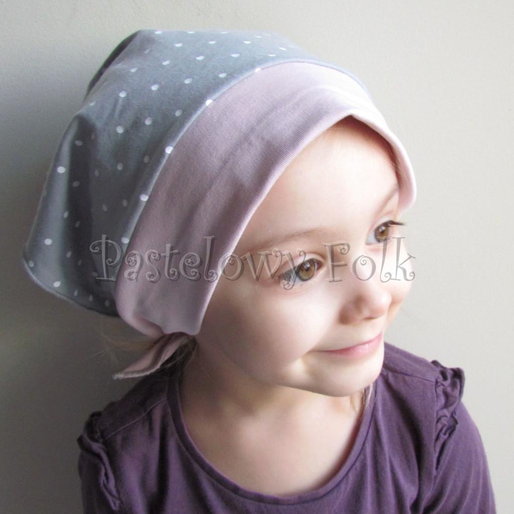 dziecko-chusteczka 25- brudny roz szary w biale kropeczki chustka -01