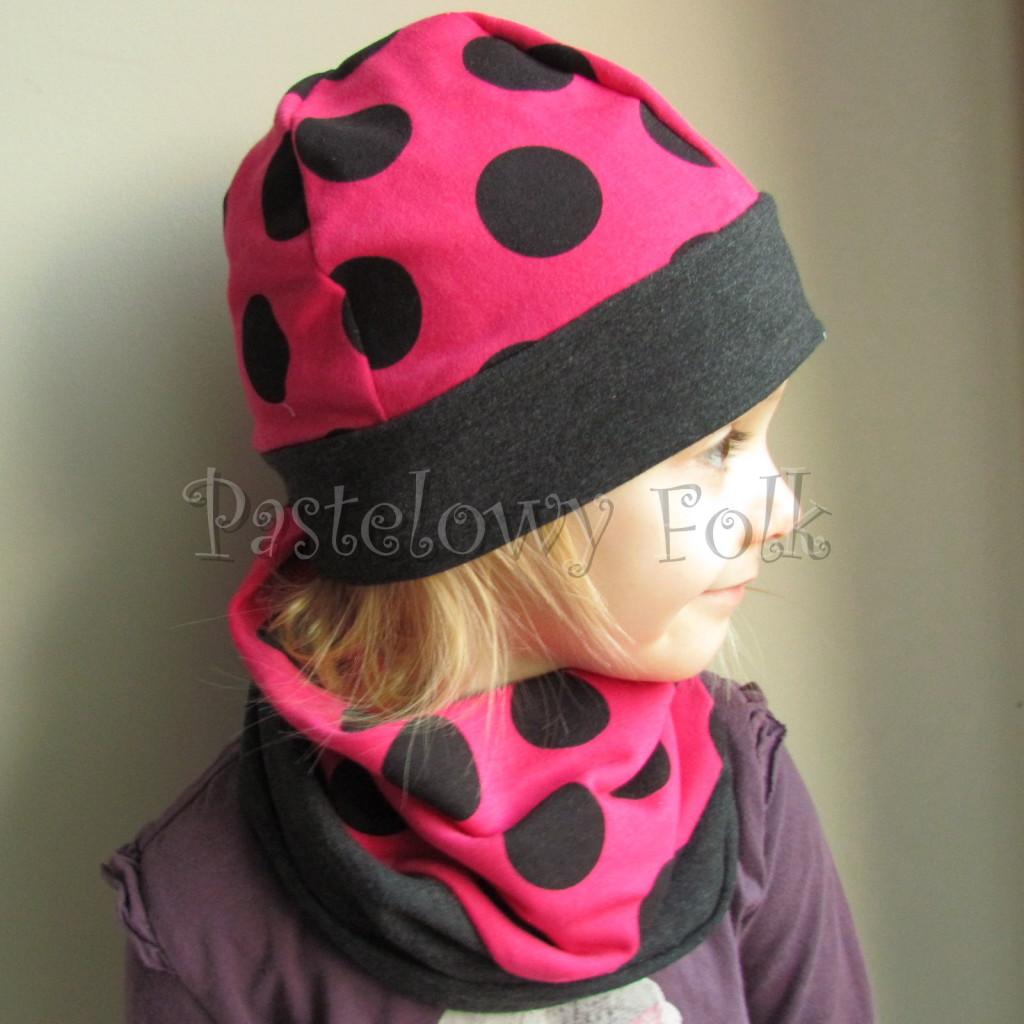 dziecko-czapka 101-dzianinowa rozowa w grochy, grafitowa, fuksja, komplet komin-10