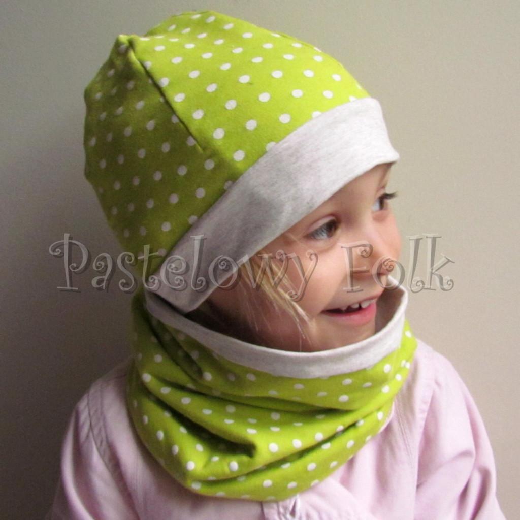 dziecko-czapka 104-dzianinowa dwustronna limonkowa zielona seledynowa w biale kropeczki, bezowa kremowa, komplet komin-01