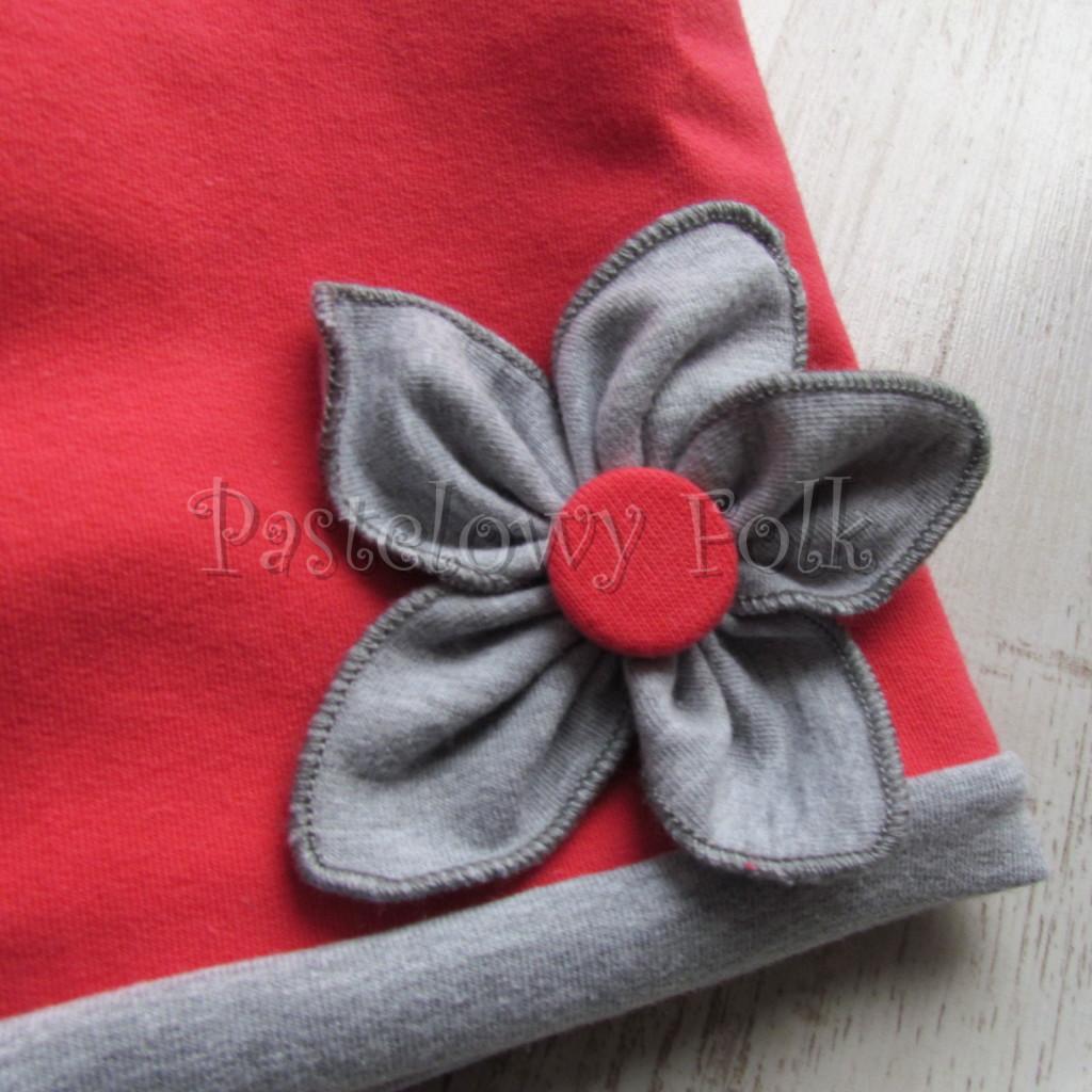 dziecko-czapka 108b-dzianinowa rozowa koralowa szary kwiat -01