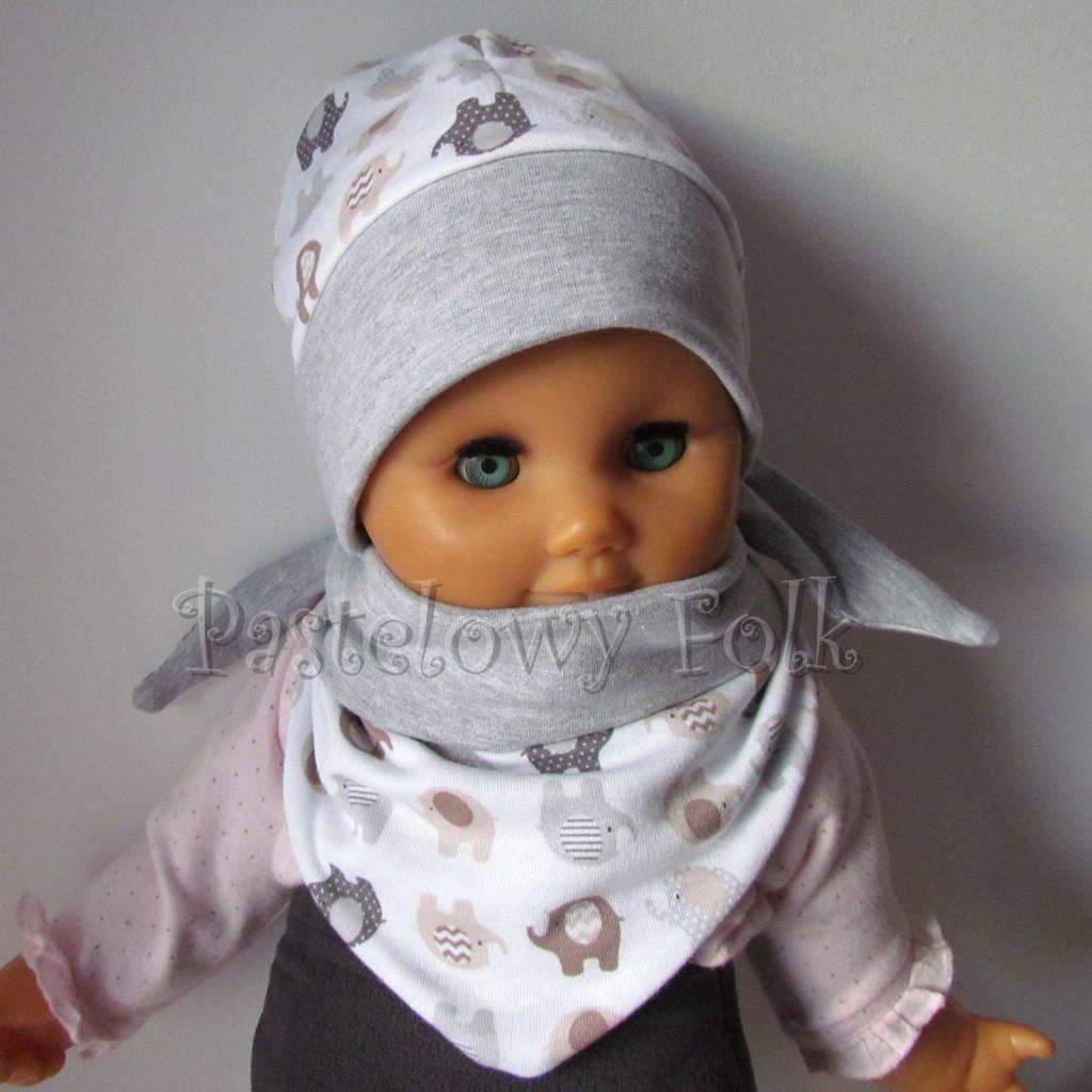 dziecko-czapka 115- szara biala w brazowe i szare sloniki, dzianinowa niemowleca slonie -02