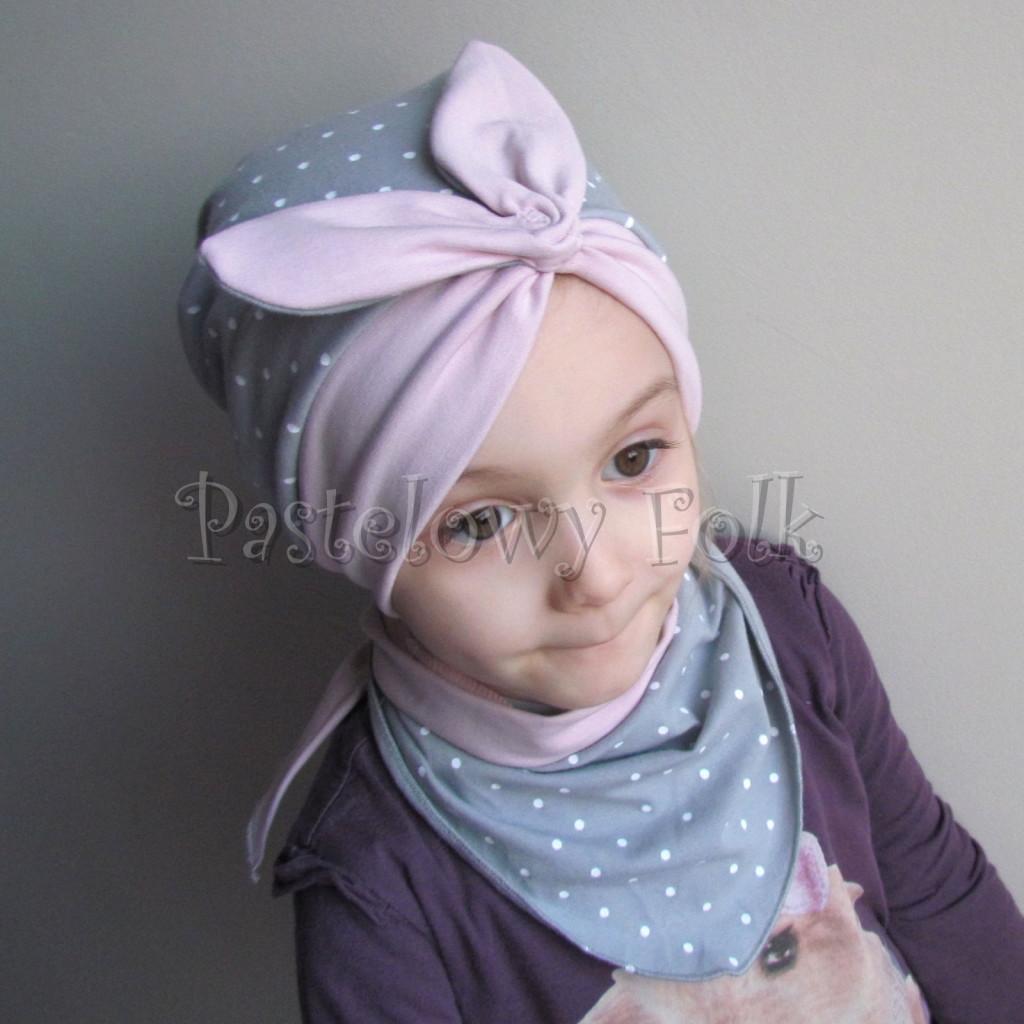 dziecko-czapka 118- brudny roz szary w biale kropeczki, pin up retro kokarda dzianinowa -01