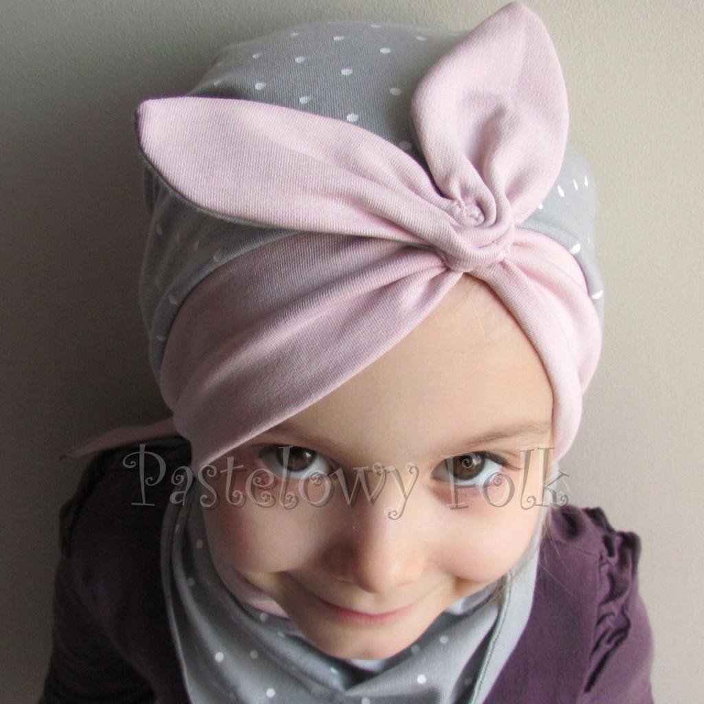 dziecko-czapka 118- brudny roz szary w biale kropeczki, pin up retro kokarda dzianinowa -02