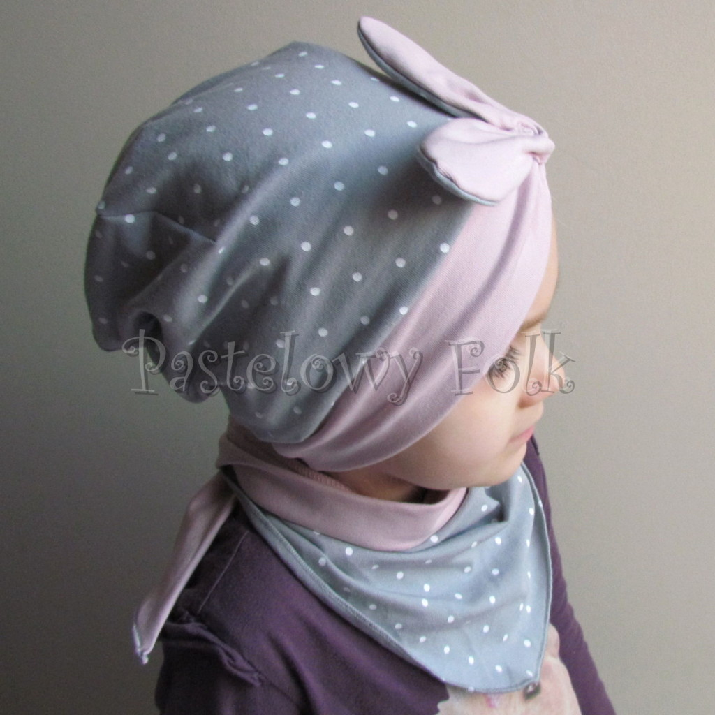 dziecko-czapka 118- brudny roz szary w biale kropeczki, pin up retro kokarda dzianinowa -03