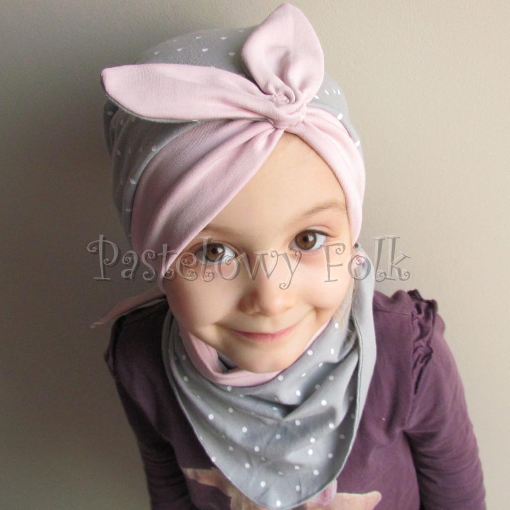 dziecko-czapka 118- brudny roz szary w biale kropeczki, pin up retro kokarda dzianinowa -04