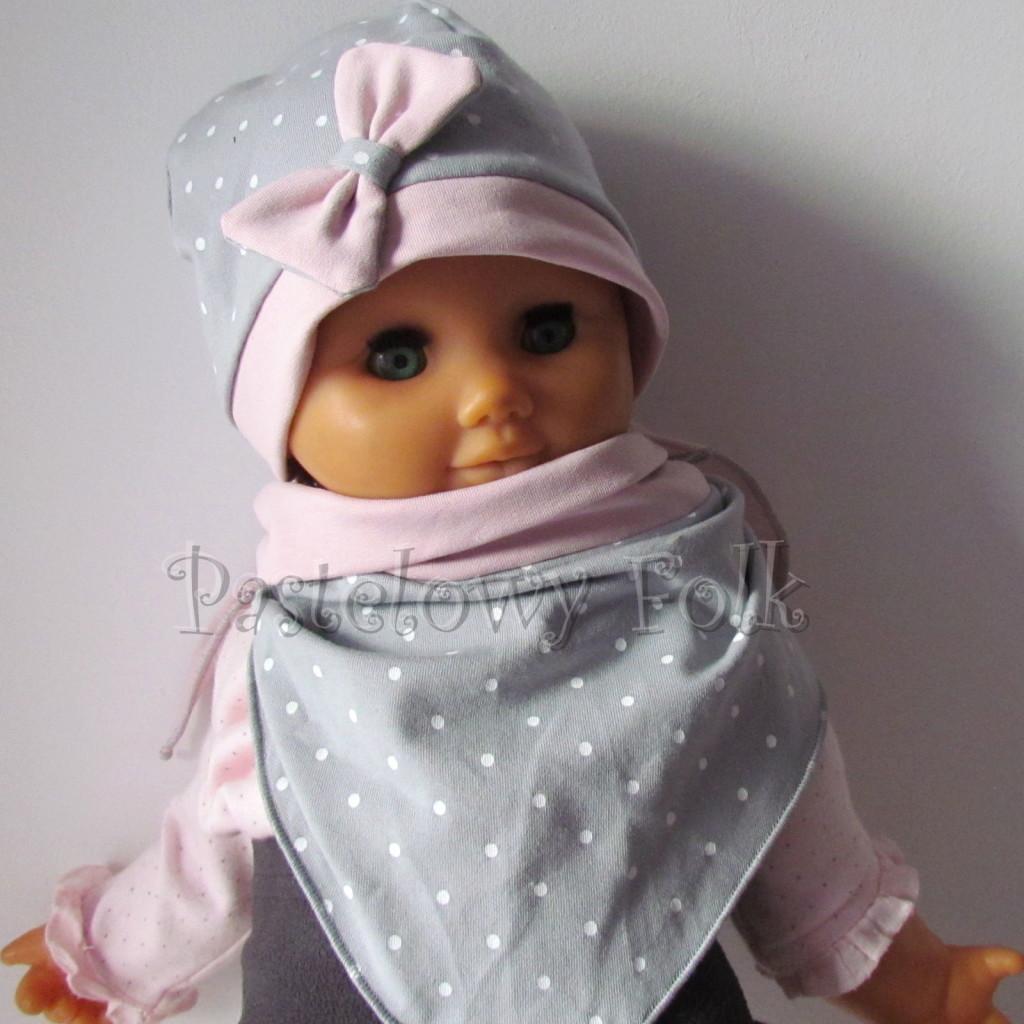 dziecko-czapka 119- brudny roz szary w biale kropeczki, kokardka dzianinowa -03