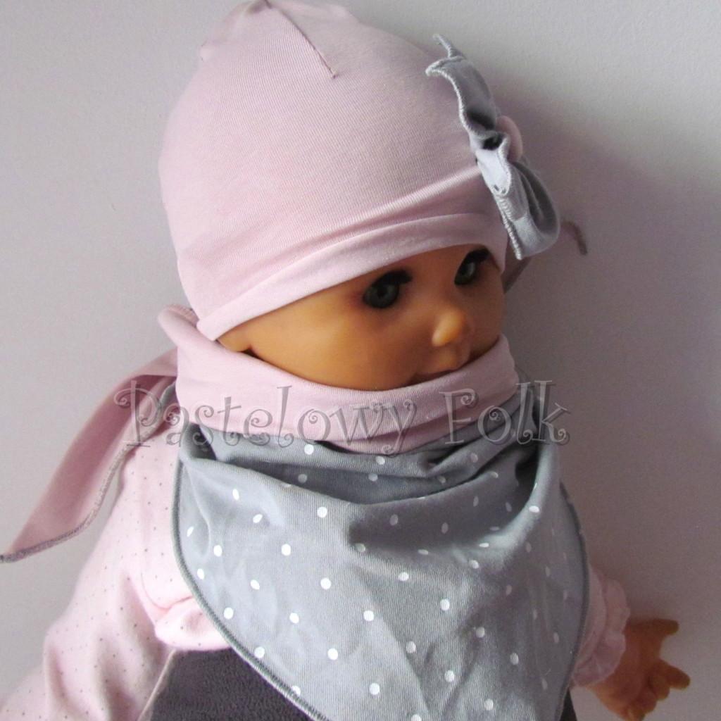 dziecko-czapka 120- brudny roz szary kwiat w biale kropeczki, dzianinowa niemowleca -04