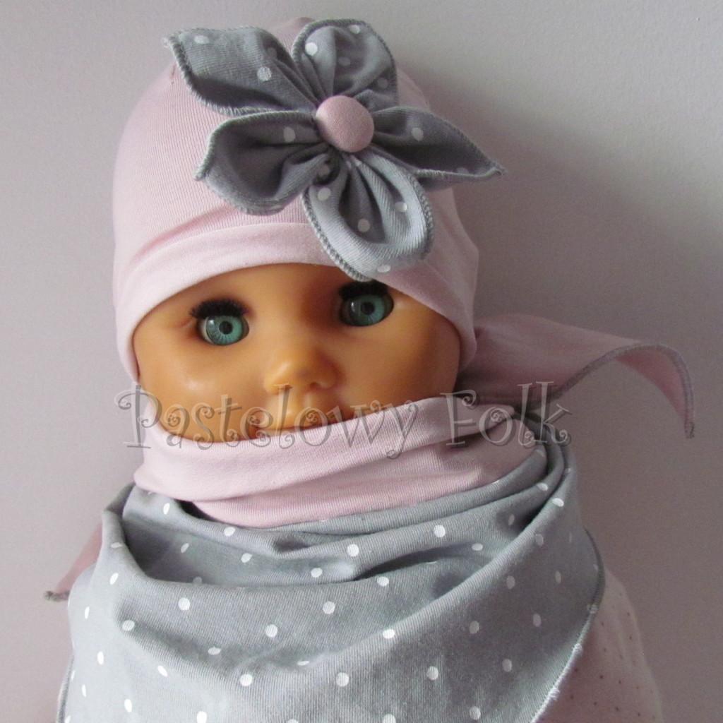 dziecko-czapka 120- brudny roz szary kwiat w biale kropeczki, dzianinowa niemowleca -05