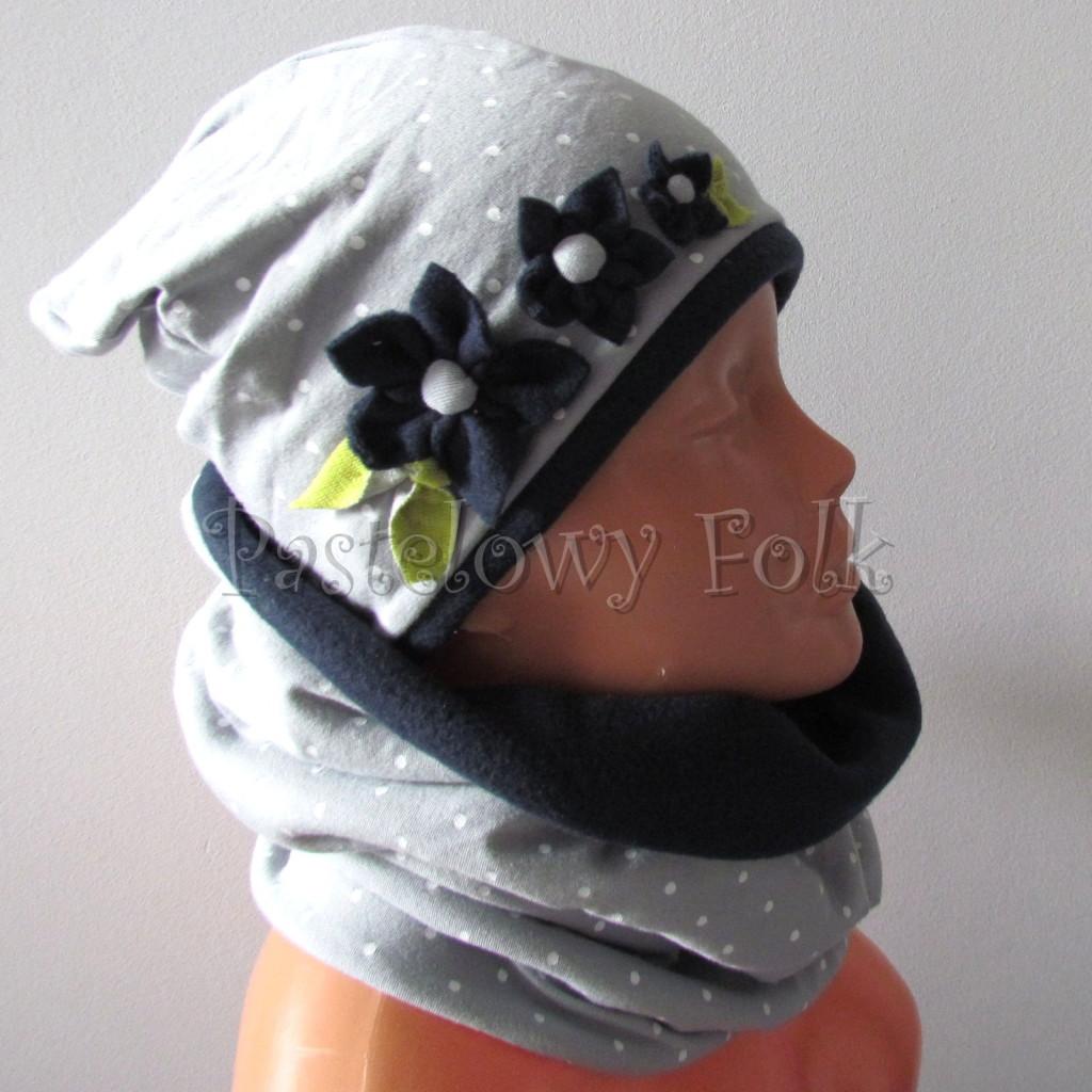 dziecko-czapka 123- szara w biale kropki kwiatki listki granatowy polar zimowa, komplet komin -03