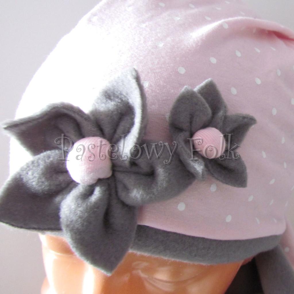 dziecko-czapka 124- rozowa w biale kropki kwiatki szary polar zimowa, komplet komin -04