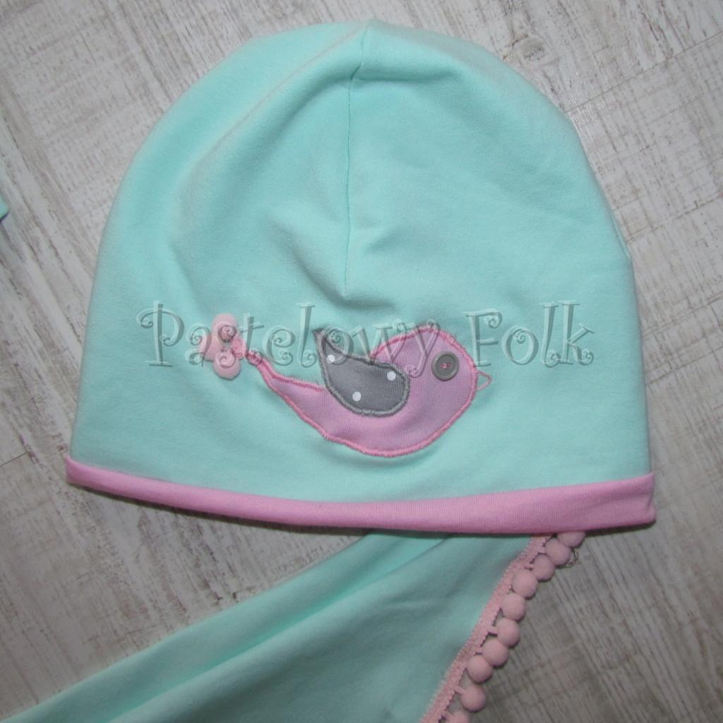 dziecko-czapka 126- rozowa mietowa ptaszek dzianinowa -01