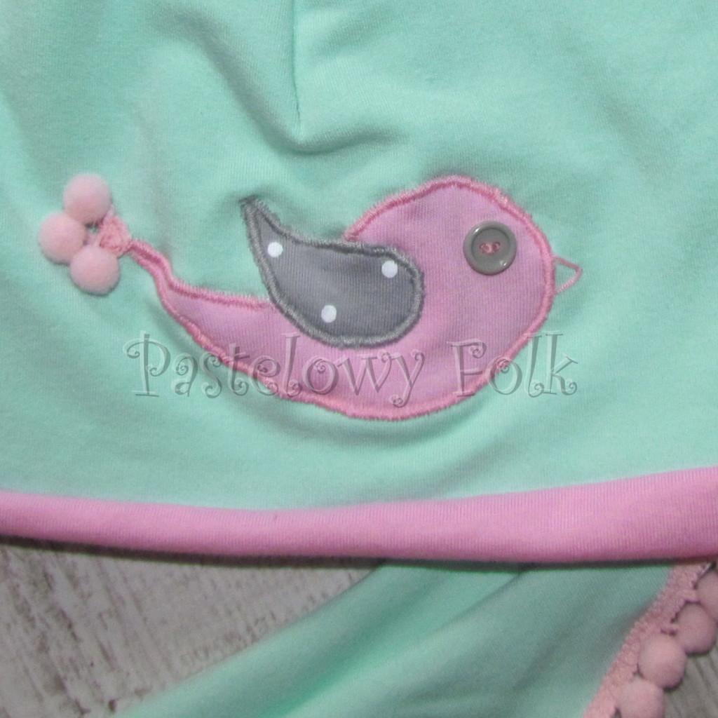 dziecko-czapka 126- rozowa mietowa ptaszek dzianinowa -02