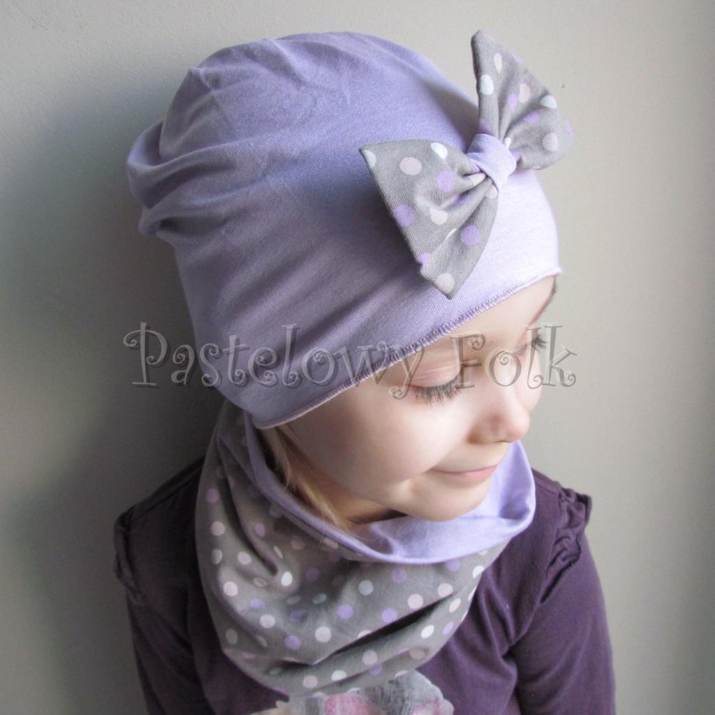 dziecko-czapka 28c- fioletowa liliowa z kokarda w groszki, dzianinowa dla dziewczynki -01