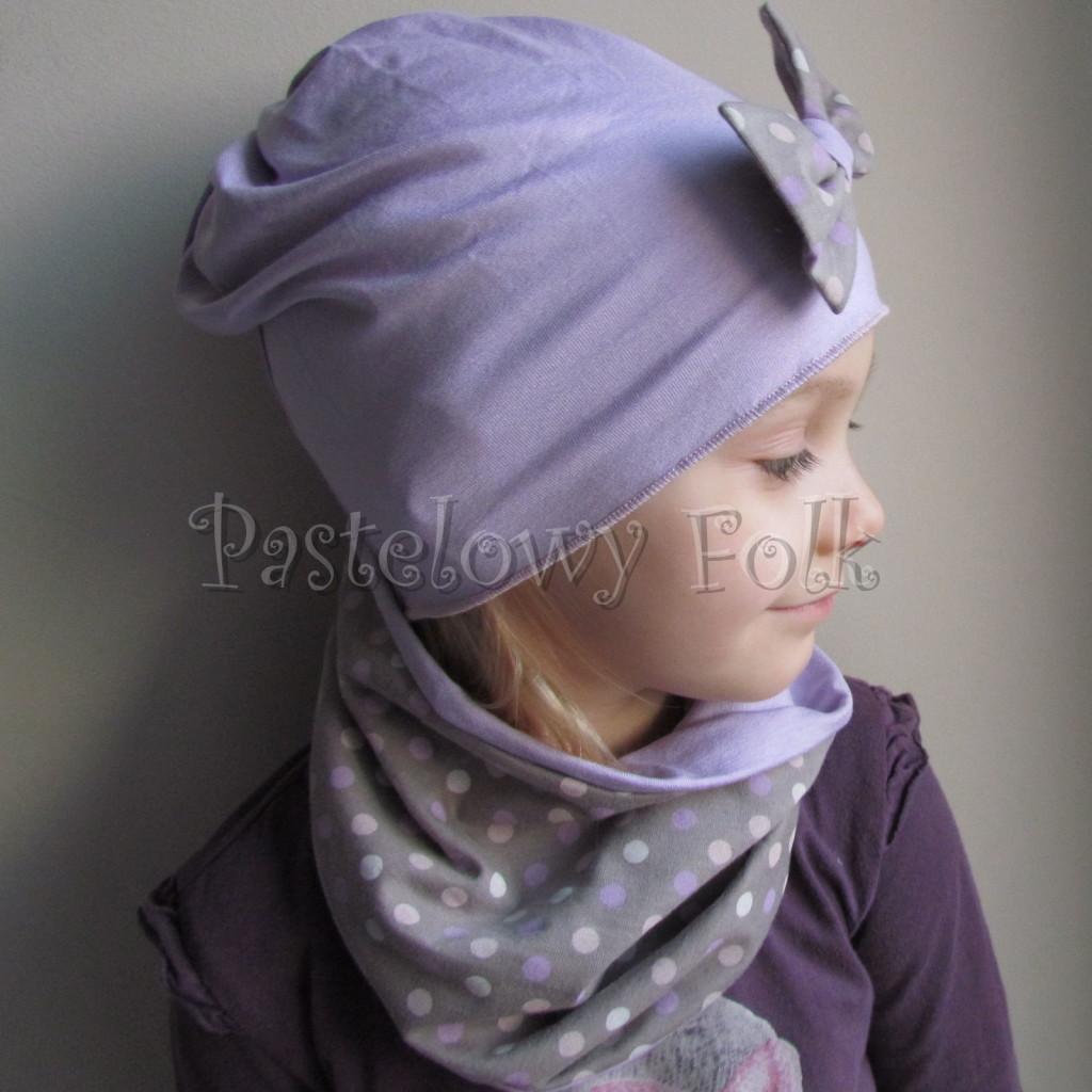 dziecko-czapka 28c- fioletowa liliowa z kokarda w groszki, dzianinowa dla dziewczynki -04