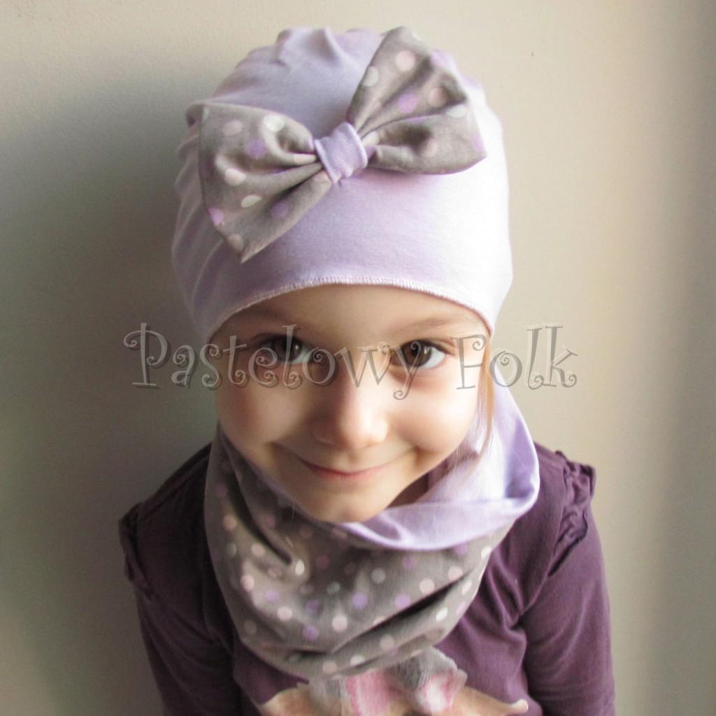 dziecko-czapka 28c- fioletowa liliowa z kokarda w groszki, dzianinowa dla dziewczynki -05