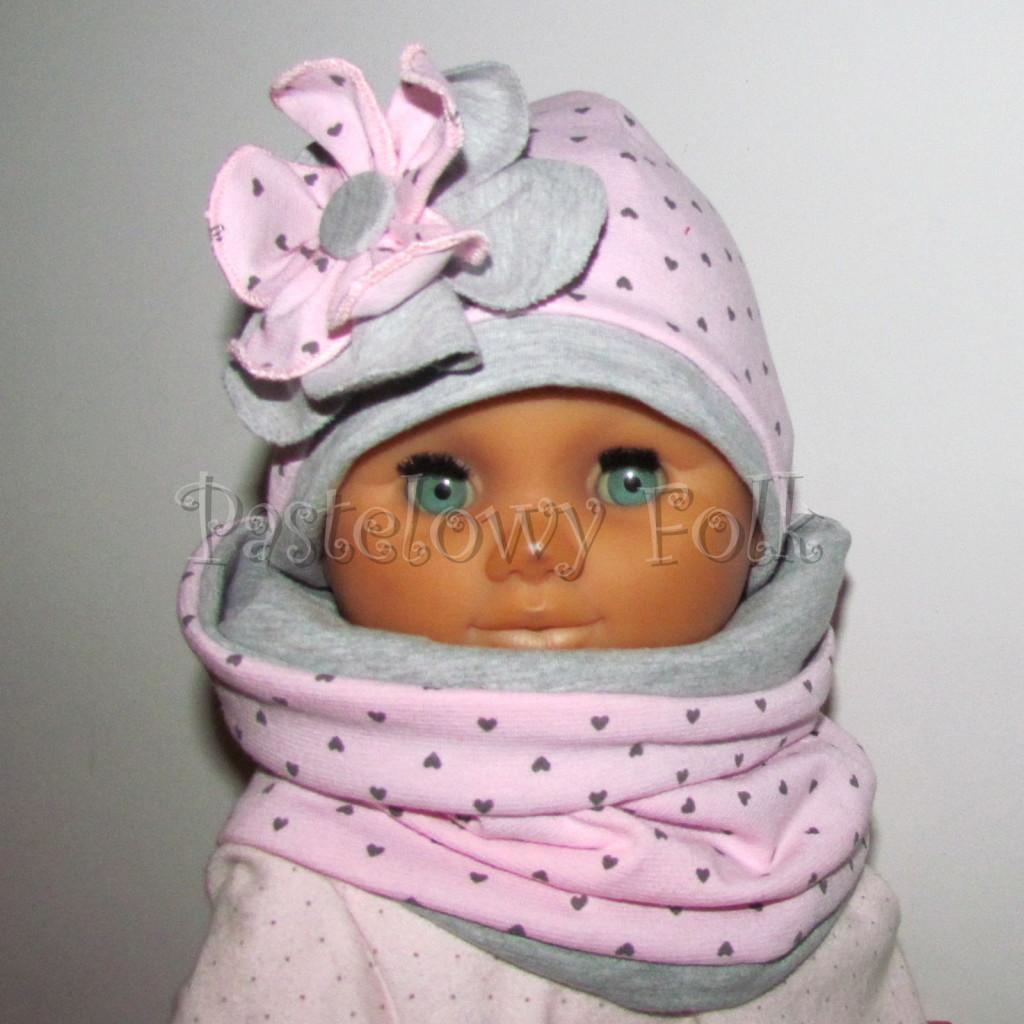 dziecko-czapka 67b- komin opaska komplet, szara, różowa w serduszka brązowe kwiat warstwowy-01