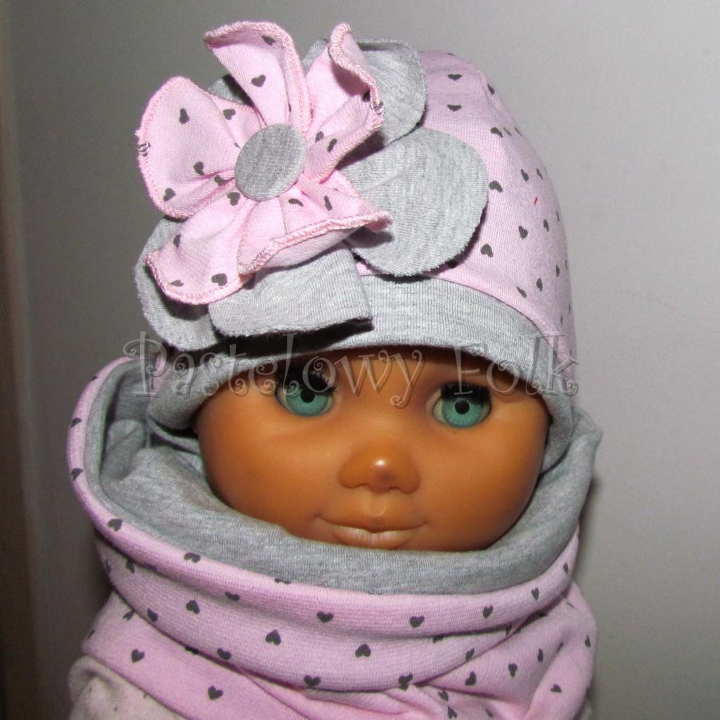 dziecko-czapka 67b- komin opaska komplet, szara, różowa w serduszka brązowe kwiat warstwowy-02