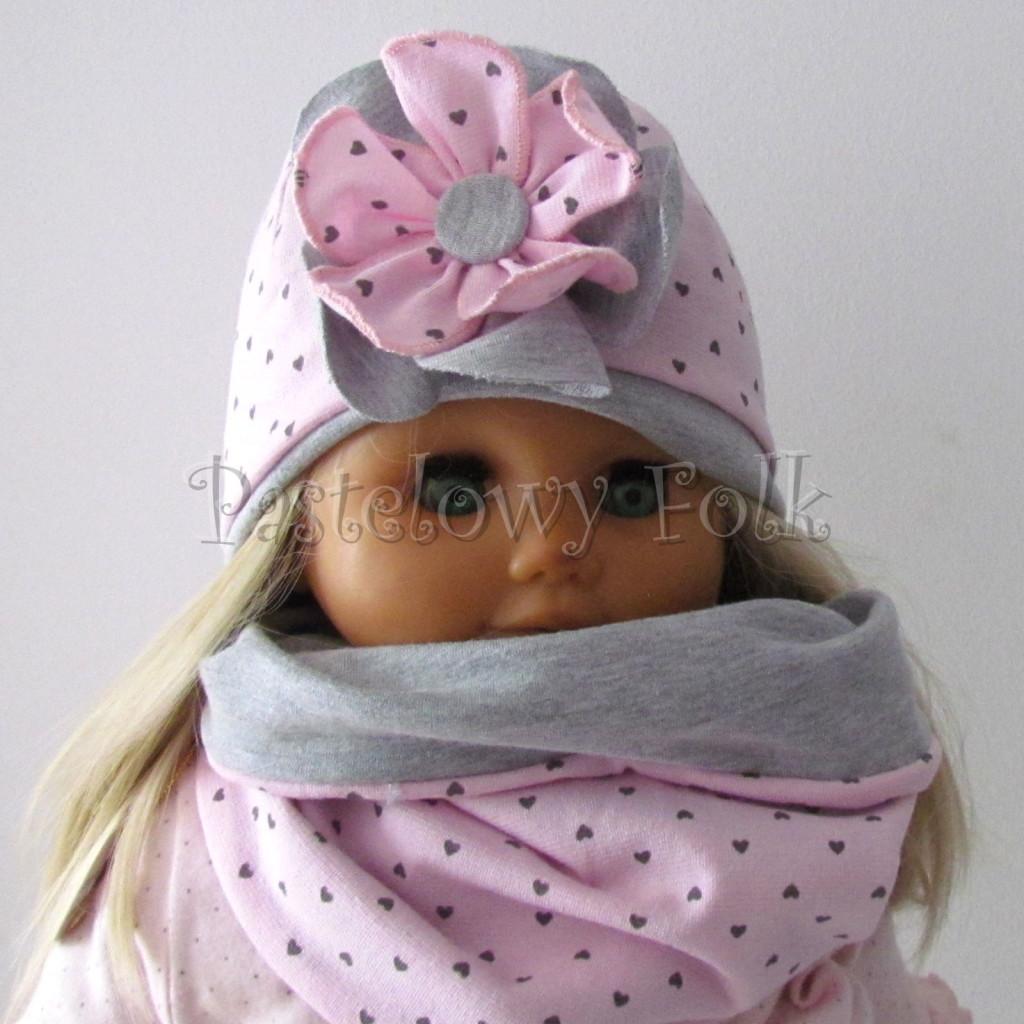 dziecko-czapka 67b- komin opaska komplet, szara, różowa w serduszka brązowe kwiat warstwowy-03