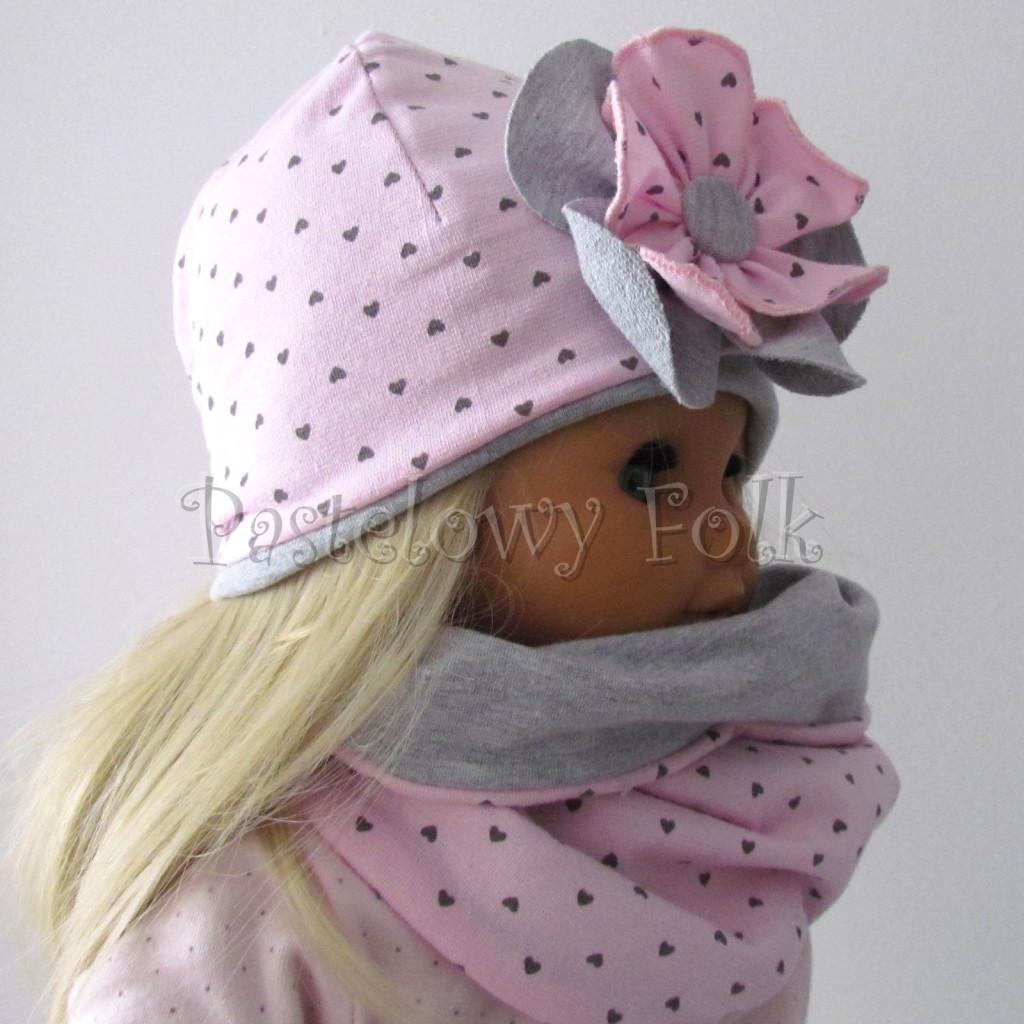 dziecko-czapka 67b- komin opaska komplet, szara, różowa w serduszka brązowe kwiat warstwowy-04