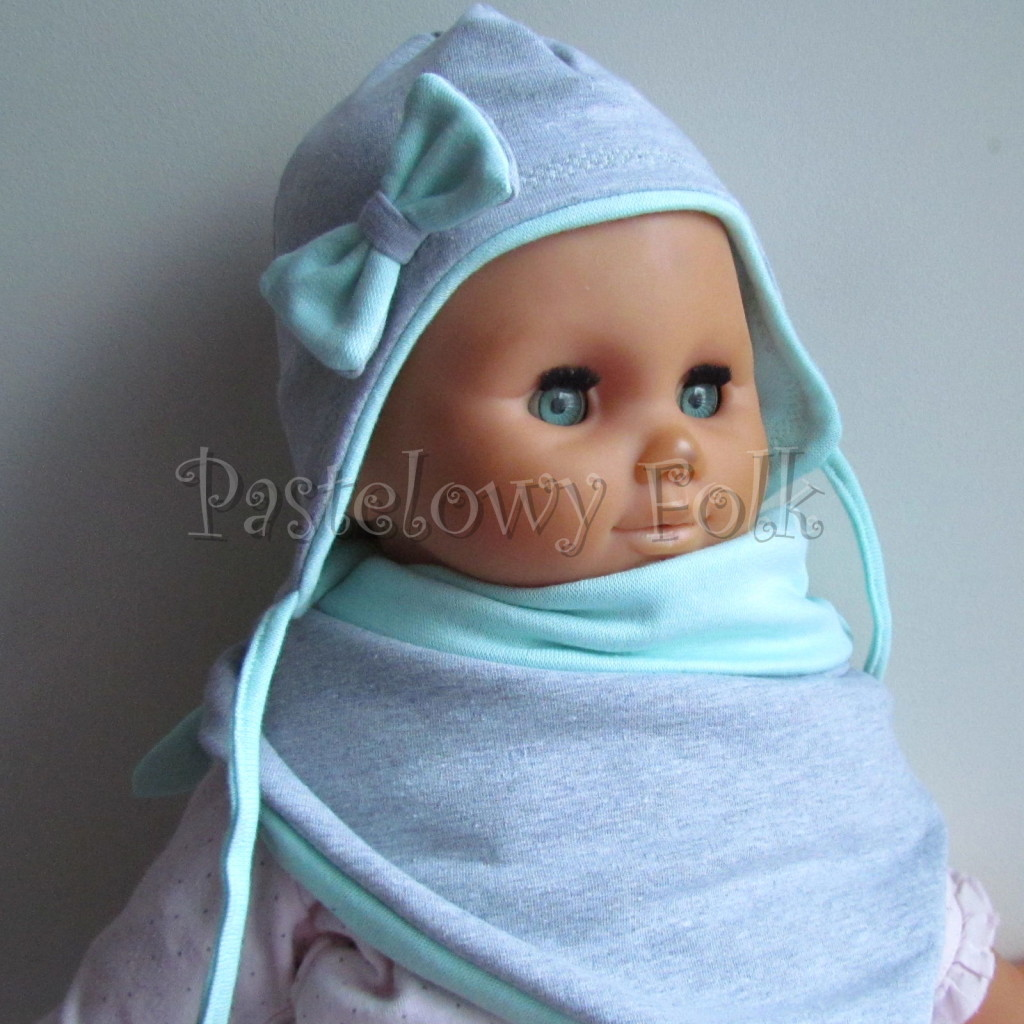 dziecko-czapka 74-  szara miętowa z kokardka pastelowa niemowleca z troczkami, chustka komplet -01