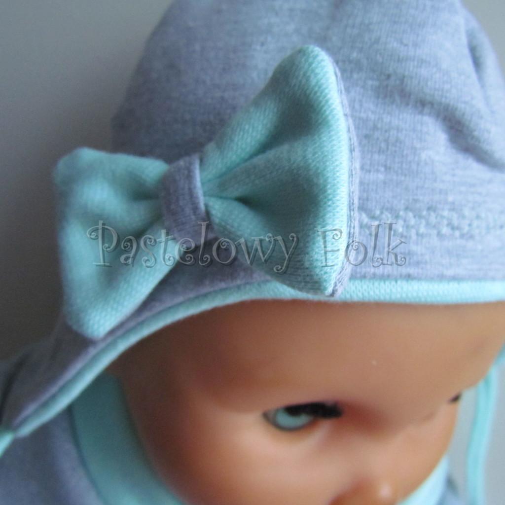 dziecko-czapka 74-  szara miętowa z kokardka pastelowa niemowleca z troczkami, chustka komplet -02