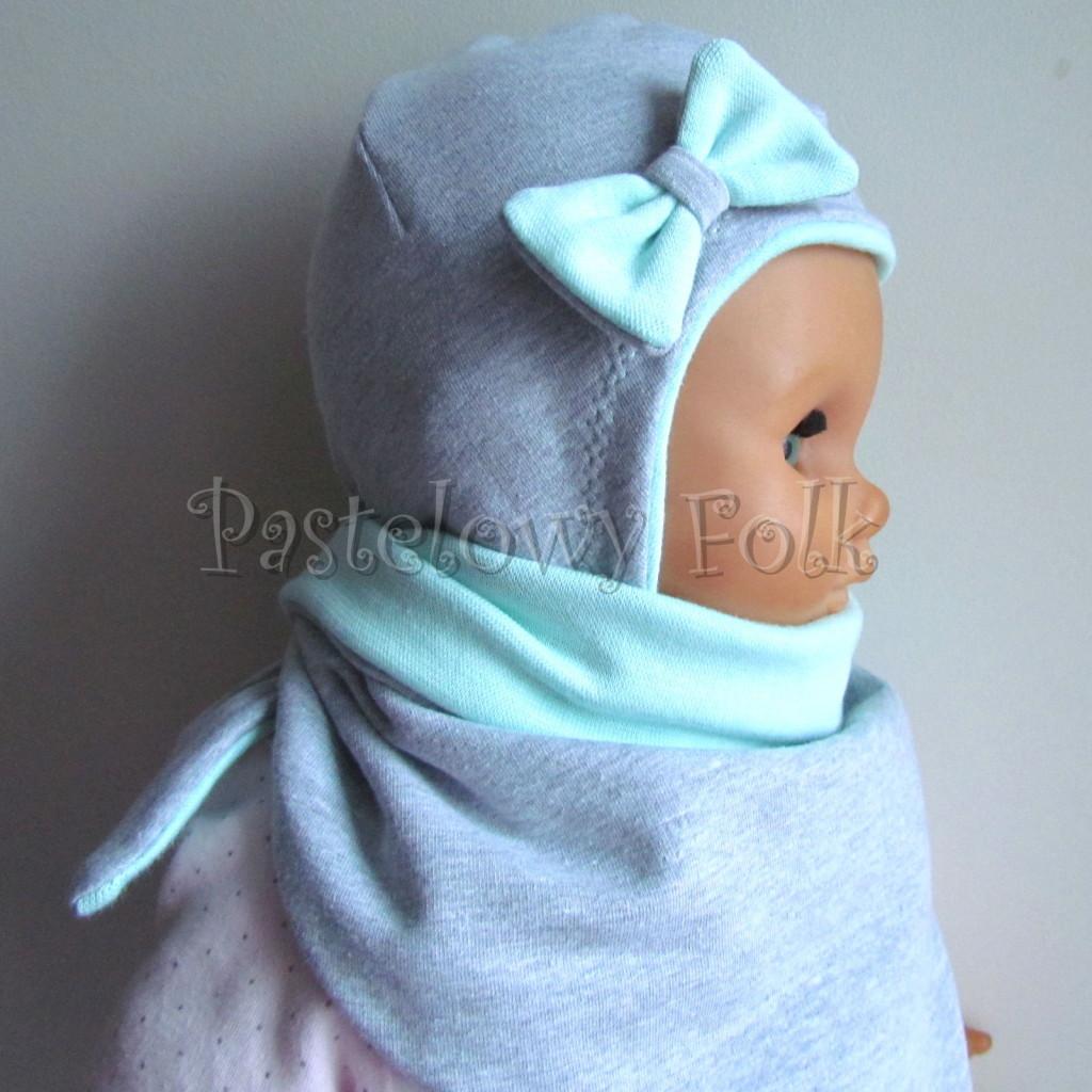dziecko-czapka 74-  szara miętowa z kokardka pastelowa niemowleca z troczkami, chustka komplet -03