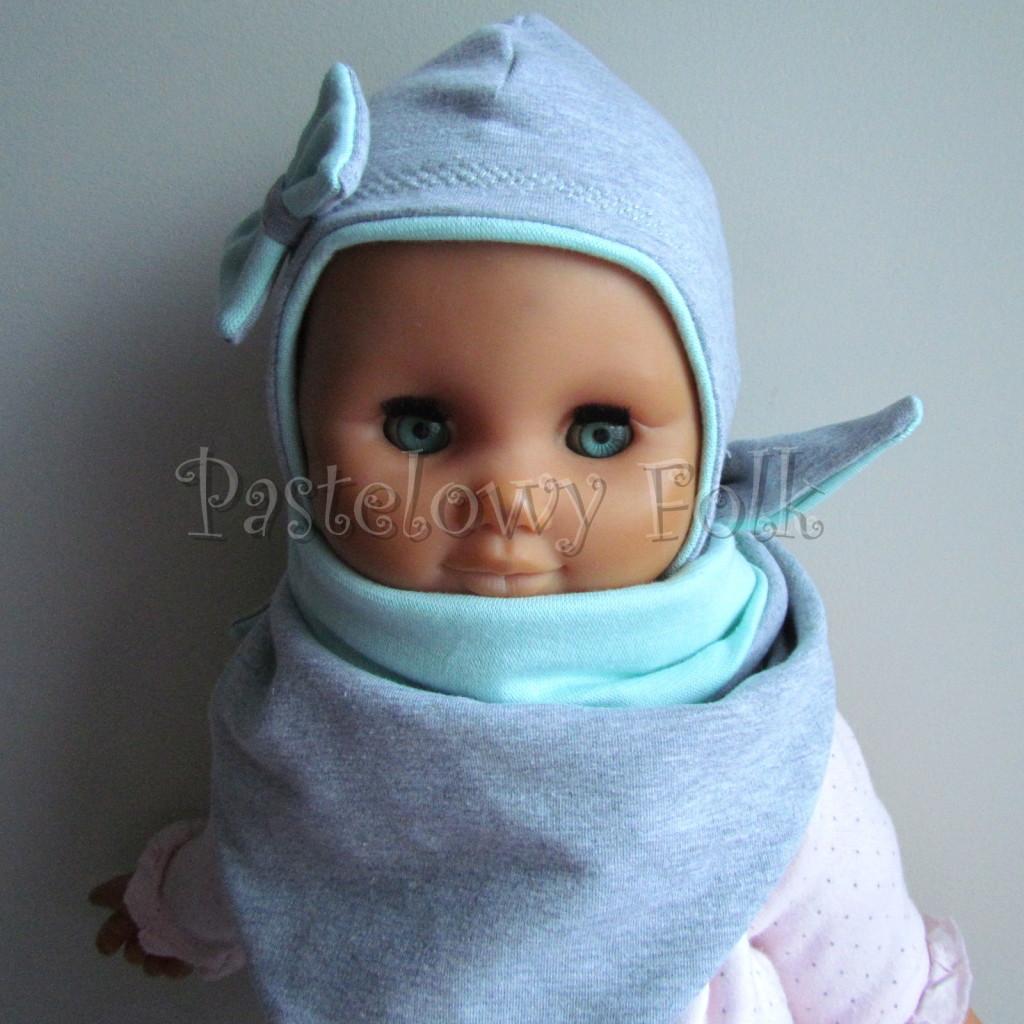 dziecko-czapka 74-  szara miętowa z kokardka pastelowa niemowleca z troczkami, chustka komplet -04