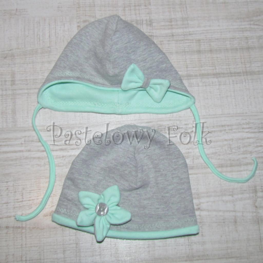 dziecko-czapka 74-  szara miętowa z kokardka pastelowa niemowleca z troczkami, chustka komplet -06