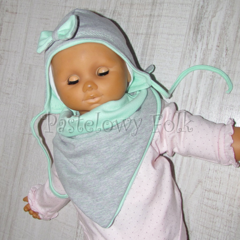 dziecko-czapka 74-  szara miętowa z kokardka pastelowa niemowleca z troczkami, chustka komplet -14