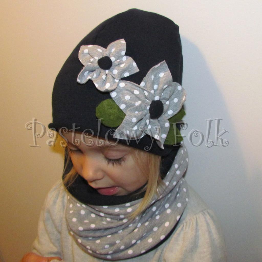 dziecko-czapka 76- komin opaska komplet, granatowa z szarymi kwiatami w biale kropki grochy, retro kwiatki-01