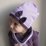 dziecko-czapka 99b-fioletowa liliowa w paski z kokardką,dzianinowa dwustronna komplet komin-01