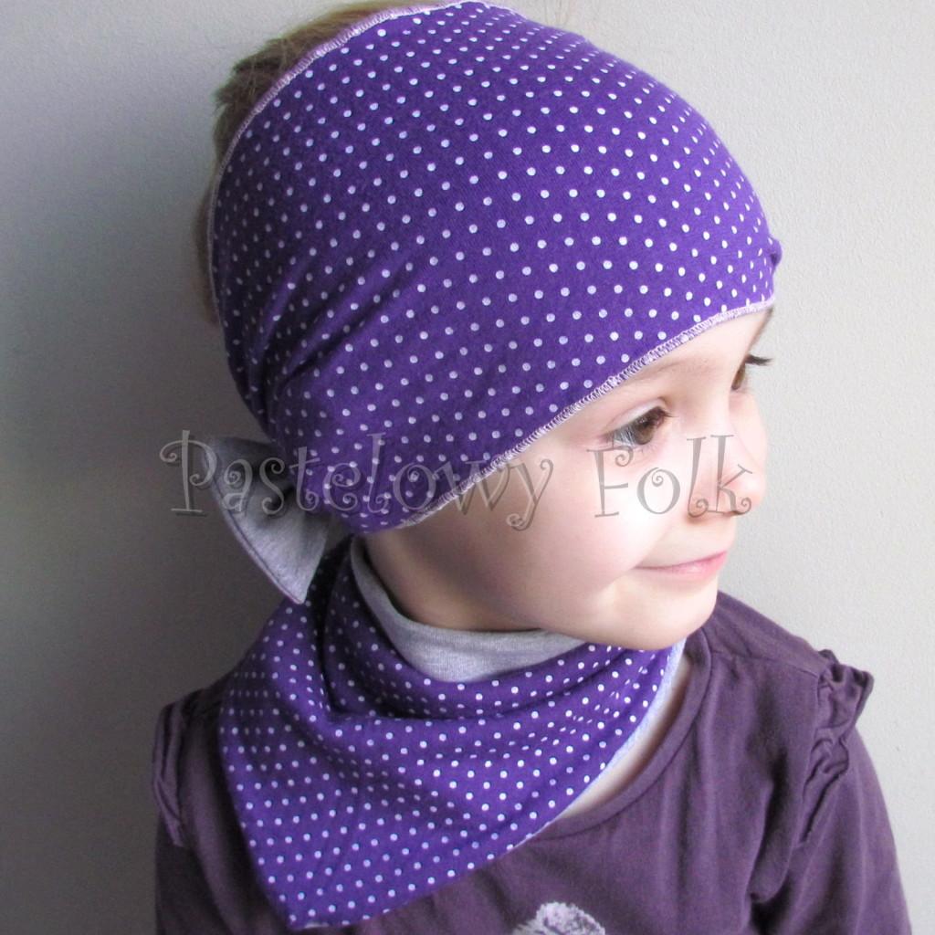 dziecko-opaska 104b- fioletowa w białe kropki groszki z szara kokarda, szeroka z funkcja chusteczki -03