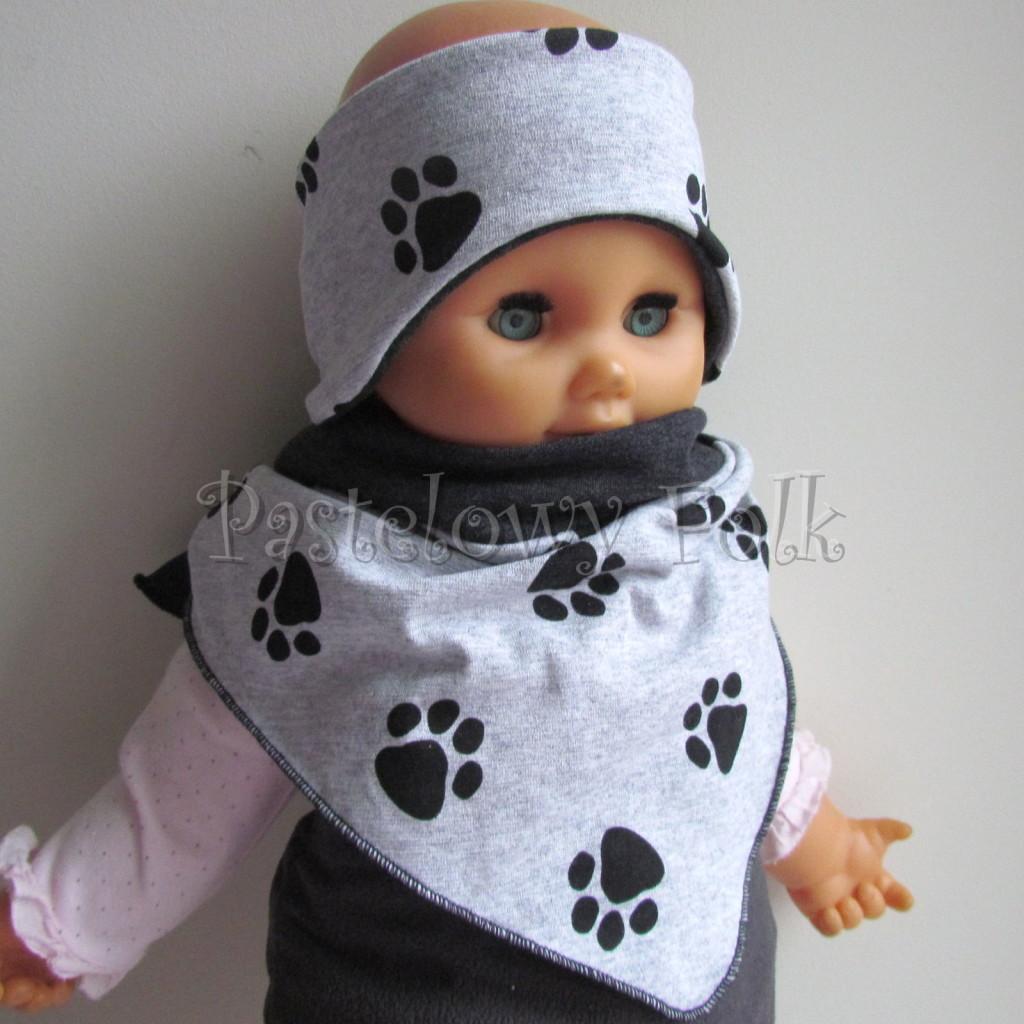 dziecko-opaska 109- dla chlopca szara w czarne lapki, grafitowa dwustronna profilowana chlopieca, komplet chustka -03