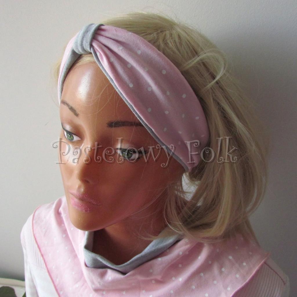 dziecko-opaska 118-jasnorozowa w biale kropeczki szara dwuwarstwowa rozowa, chustka-02