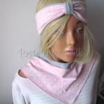 dziecko-opaska 118-jasnorozowa w biale kropeczki szara dwuwarstwowa rozowa, chustka-04