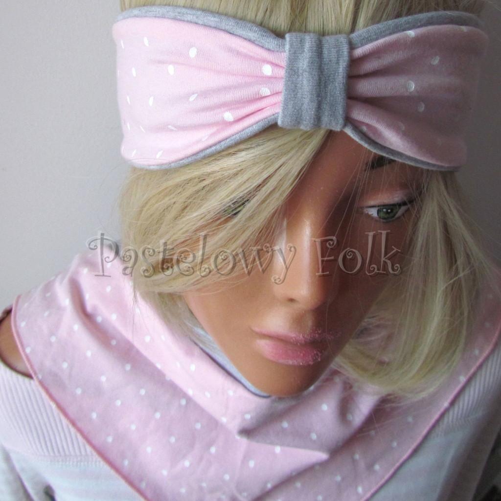 dziecko-opaska 118-jasnorozowa w biale kropeczki szara dwuwarstwowa rozowa, chustka-05