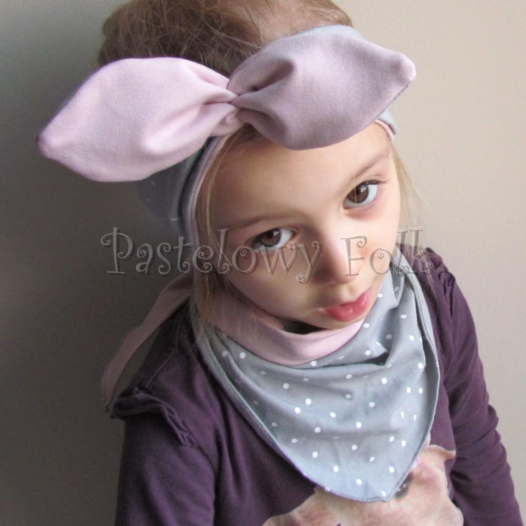 dziecko-opaska 127- szara w biale kropeczki brudny roz, dwustronna wiazana retro kokarda pin up kropki-02