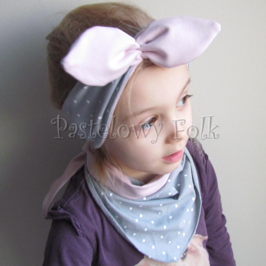dziecko-opaska 127- szara w biale kropeczki brudny roz, dwustronna wiazana retro kokarda pin up kropki-03