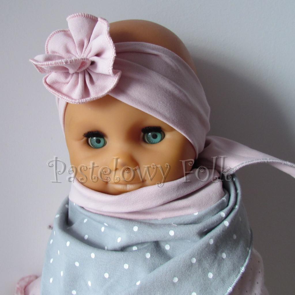 dziecko-opaska 129- brudny roz z kwiatkiem marszczonym, rozowy, chustka-05
