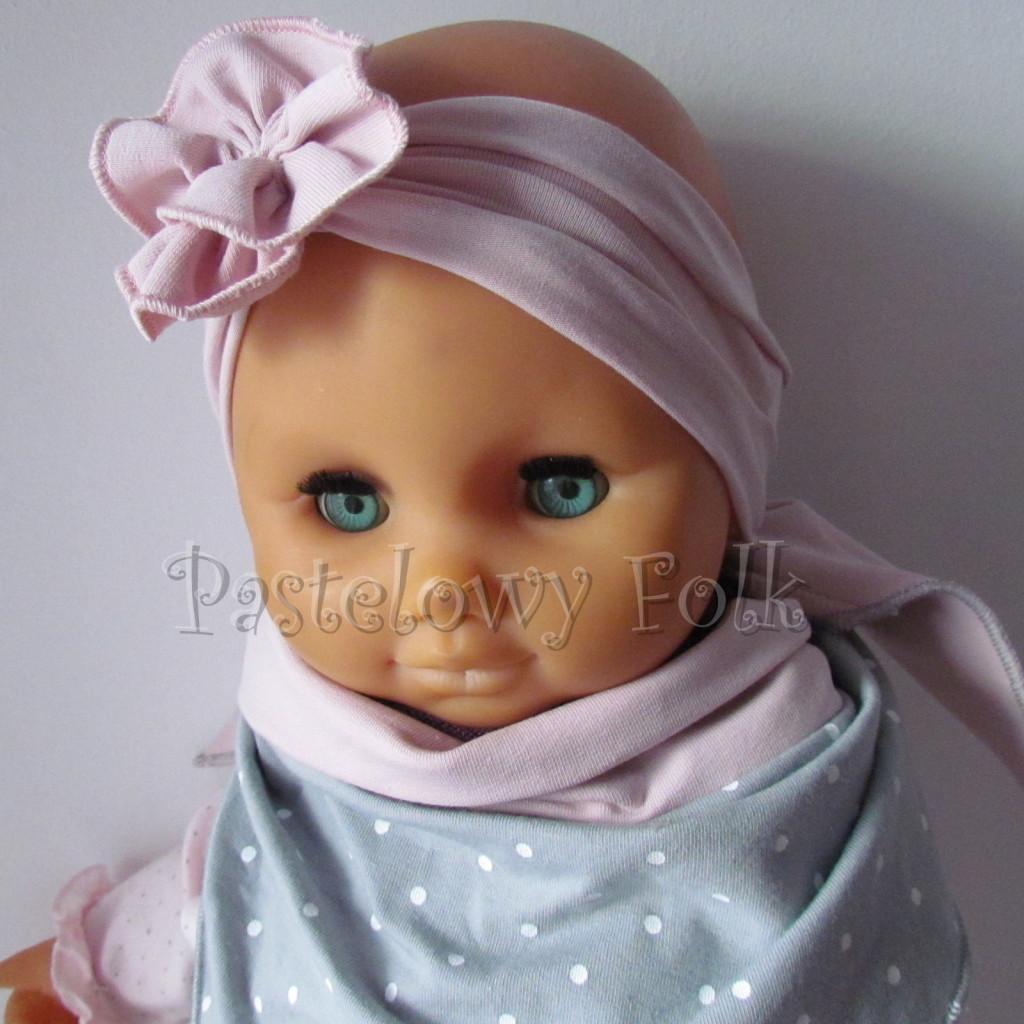dziecko-opaska 129b- brudny roz z kwiatkiem marszczonym, rolowana rozowy, chustka-03