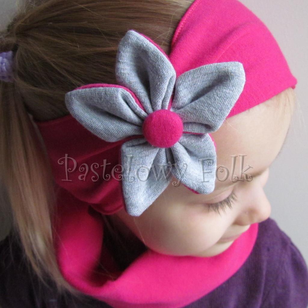 dziecko-opaska 130- rozowa fuksja z szarym kwiatkiem, ciemnorozowa amarant -03