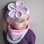 dziecko-opaska 48- rozowa z szarym duzym kwiatkiem w różowe i białe serduszka -07