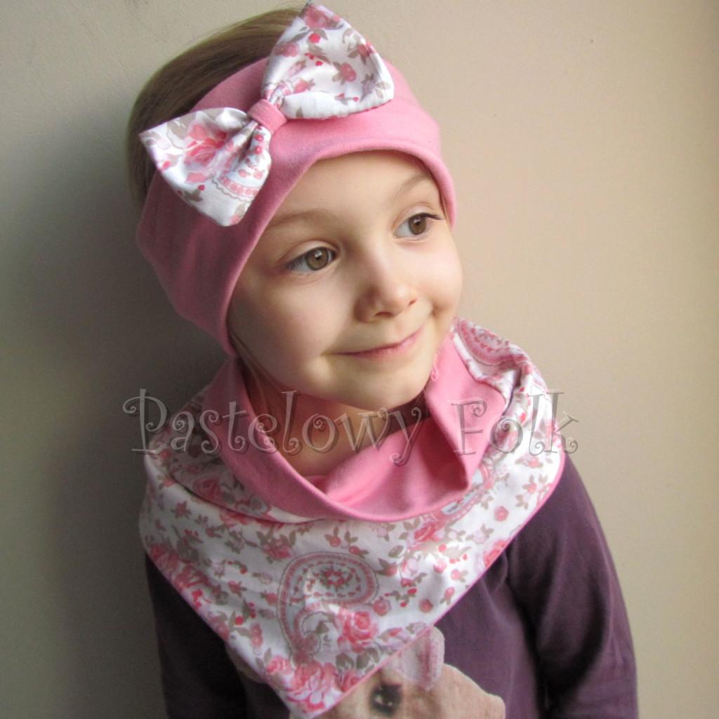 dziecko-opaska 54- rozowa z biała kokarda z tureckim wzorem rozowym,truskawkowa, koralowy roz, komplet chusteczka -03