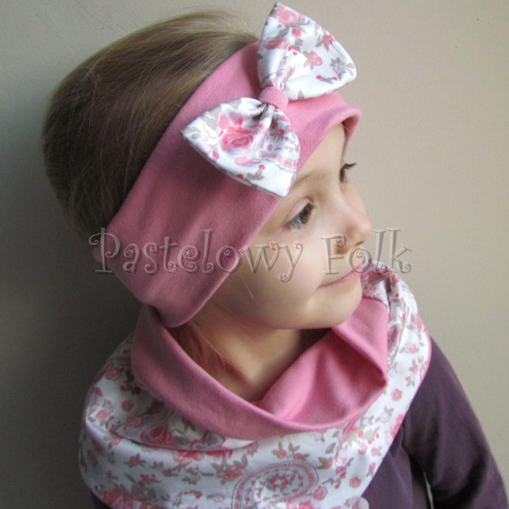 dziecko-opaska 54- rozowa z biała kokarda z tureckim wzorem rozowym,truskawkowa, koralowy roz, komplet chusteczka -04