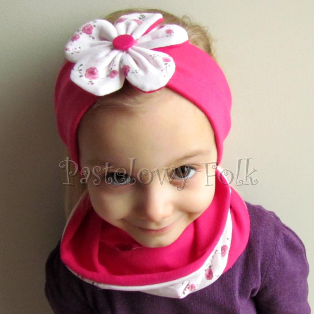 dziecko-opaska 62d- różowa fuksja amarant dwuwarstwowa z kwiatkiem w biale w rozyczki -01