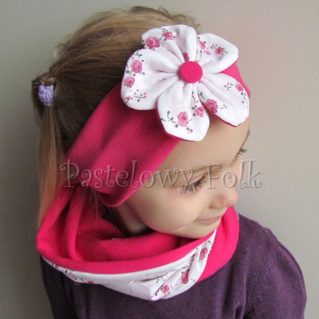 dziecko-opaska 62d- różowa fuksja amarant dwuwarstwowa z kwiatkiem w biale w rozyczki -02